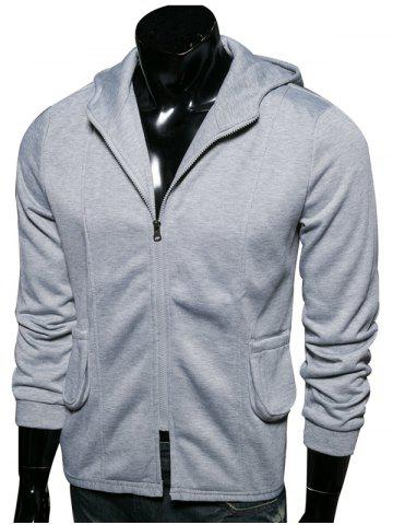 Outfits Hooded Pockets Embellished Zip-Up Hoodie