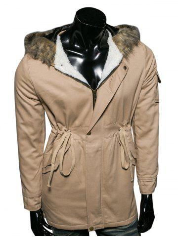 Store Hooded Faux Fur Collar Drawstring Cotton-Padded Parka Coat