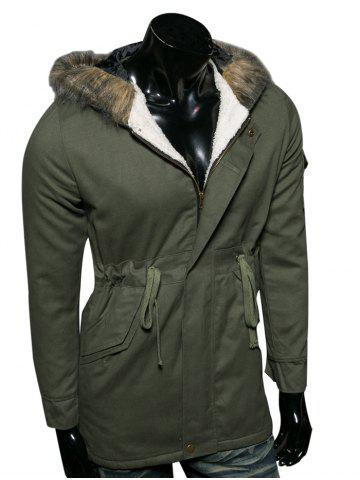 New Hooded Faux Fur Collar Drawstring Cotton-Padded Parka Coat