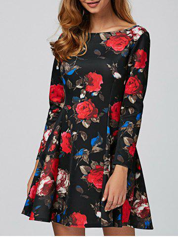 Shop Long Sleeve Floral Mini Vintage Dress