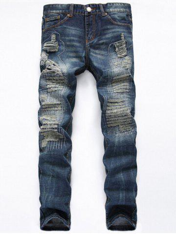Hot Zipper Fly Straight Leg Frayed Jeans