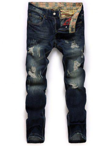 Shops Zipper Fly Straight Leg Destroyed Washed Jeans