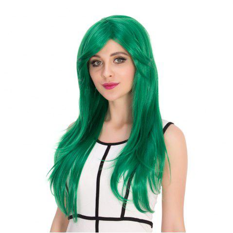 Store Long Side Bang Natural Straight Cosplay Synthetic Wig - GREEN  Mobile