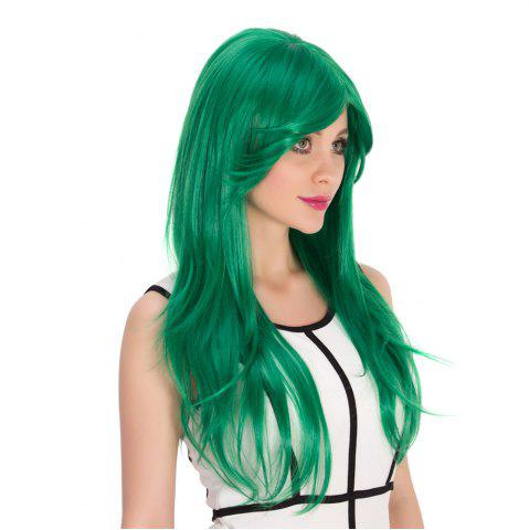 Hot Long Side Bang Natural Straight Cosplay Synthetic Wig - GREEN  Mobile
