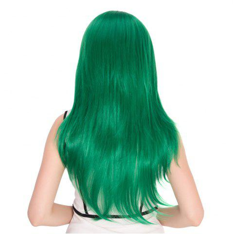 Fashion Long Side Bang Natural Straight Cosplay Synthetic Wig - GREEN  Mobile