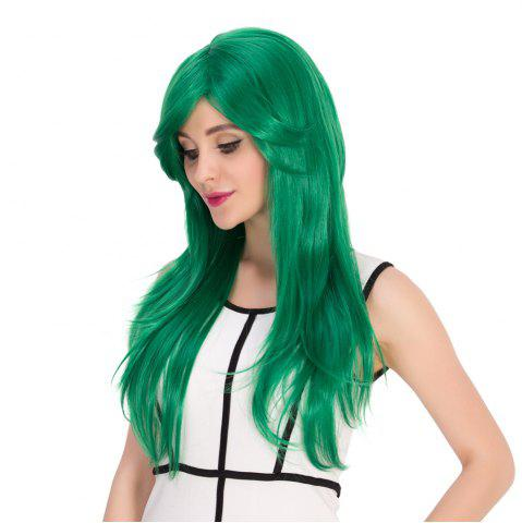 Buy Long Side Bang Natural Straight Cosplay Synthetic Wig - GREEN  Mobile