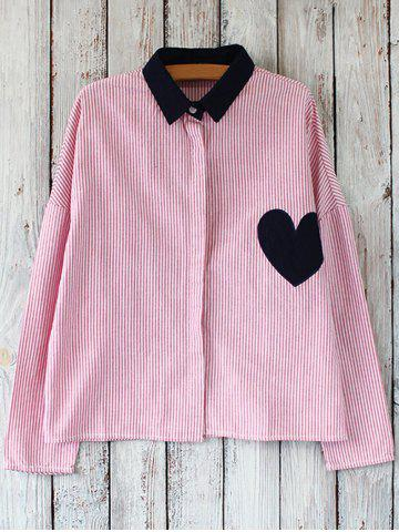 Discount Striped Oversized Heart Patched Shirt