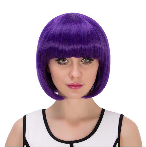 Shops Exquisite Synthetic Cosplay Short Full Bang Bob Haircut Wig - PURPLE  Mobile
