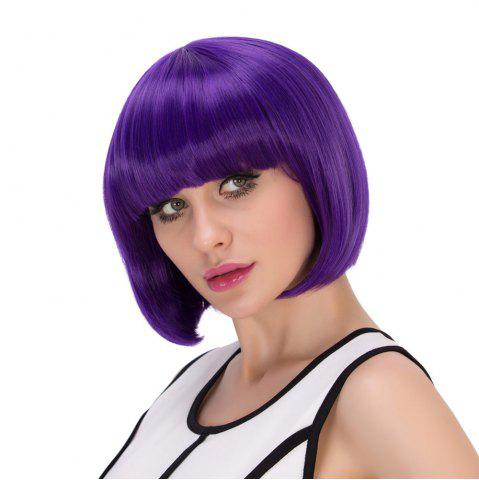 Sale Exquisite Synthetic Cosplay Short Full Bang Bob Haircut Wig - PURPLE  Mobile