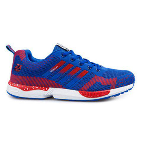 New Breathable Color Spliced Tie Up Athletic Shoes BLUE AND RED 43