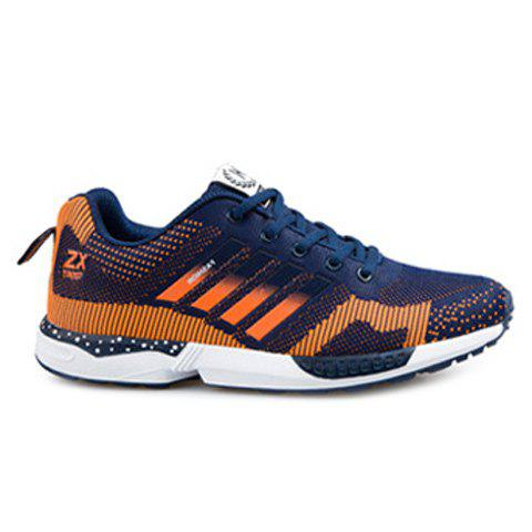 Breathable Color Spliced Tie Up Athletic Shoes - Blue And Orange - 42
