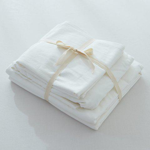 Latest Home Textile Washable Cotton Fitted Sheet 4PCS Bedding Set - KING WHITE Mobile