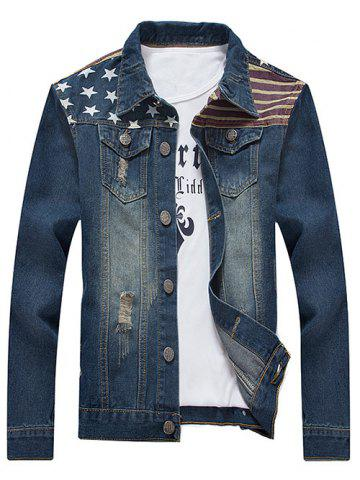 Online Turn-Down Collar Star and Stripe Print Distressed Denim Jacket - 3XL BLUE Mobile