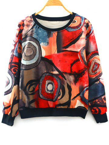 Unique Abstract Print Pullover Sweatshirt