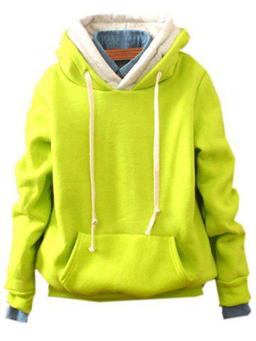 Front Pocket Pullover Fleece Hoodie - FLUORESCENT YELLOW ONE SIZE