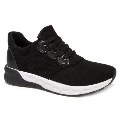 Trendy Splicing PU Leather Lace-Up Athletic Shoes