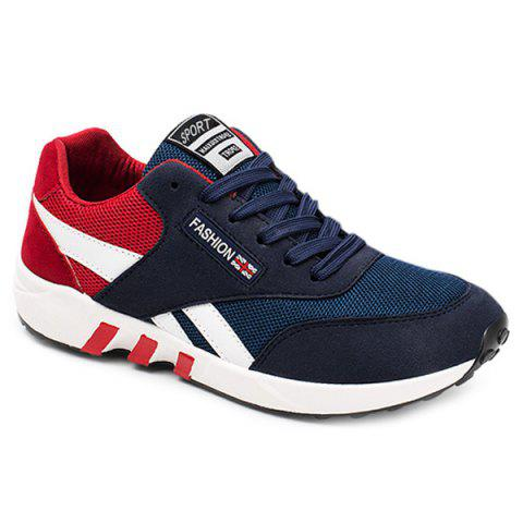 Breathable Lace-Up Color Block Athletic Shoes - Red - 43