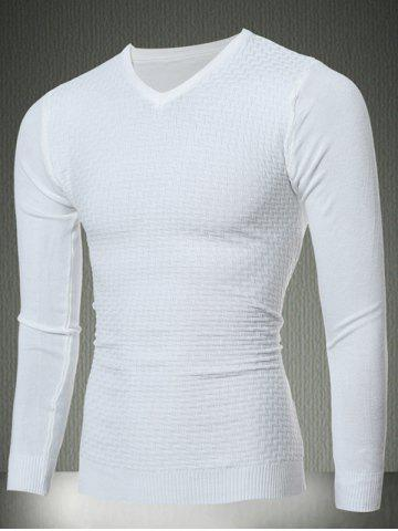 Unique Slim Fit V-Neck Sweater in Textured Knit WHITE XL