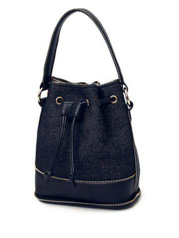 Buy Splicing Drawstring Denim Crossbody Bag