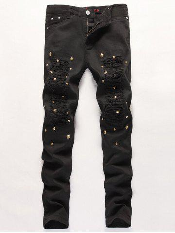 Cheap Slim Fit Stub Embellished Distressed Jeans