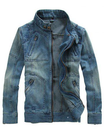 Online Zippered Removable Hood Denim Jacket - 2XL DENIM BLUE Mobile