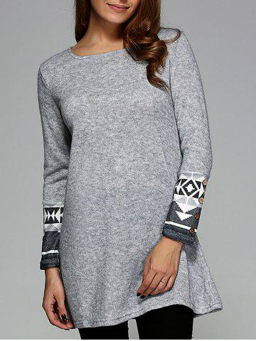 Hot Casual Geometric Pattern Long Sleeve Dress LIGHT GRAY XL