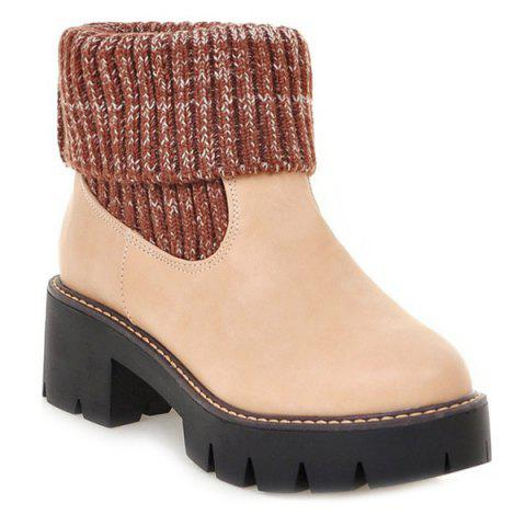 Buy Platform Knitting Splicing Short Boots