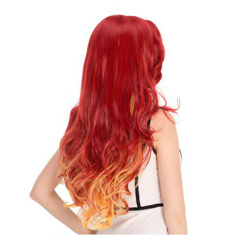 Fashion Gradient Color Long Wavy Cosplay Synthetic Wig - YELLOW AND RED  Mobile