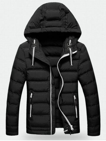 Fancy Contrast Zipper Hooded Quilted Jacket