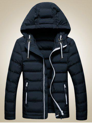 Latest Contrast Zipper Hooded Quilted Jacket CADETBLUE XL