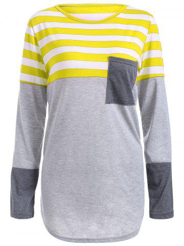 Affordable Striped Pocket Tunic T-Shirt - YELLOW M Mobile