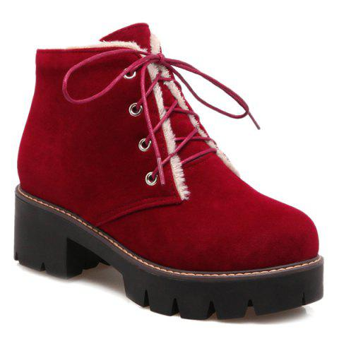 Buy Chunky Heel Lace-Up Short Boots RED 41