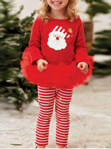 Kids Santa Striped Christmas Outfits - Red - 130