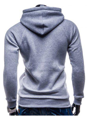 Discount IZZUMI Paneled Raglan Sleeve Drawstring Hoodie - GREY AND WHITE AND BLUE L Mobile