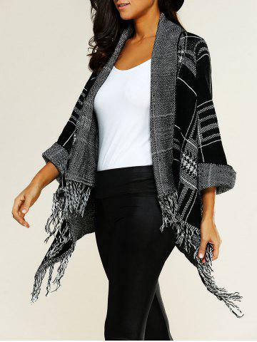 Unique Shawl Collar Asymmetric Fringed Cardigan