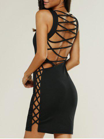 New Backless Lace Up Fitted Club Bandage Mini Dress BLACK L