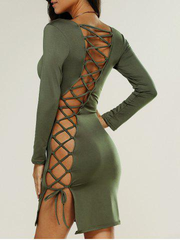 Unique Lace Up Bodycon Club Dress with Sleeves