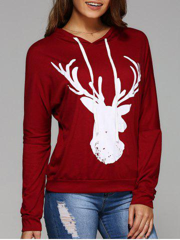 Fashion Long Sleeve Deer Print Christmas Hooded T-Shirt RED M