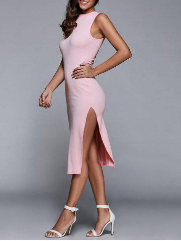 Trendy Sleeveless Back Cutout Side Slit Bodycon Party Dress