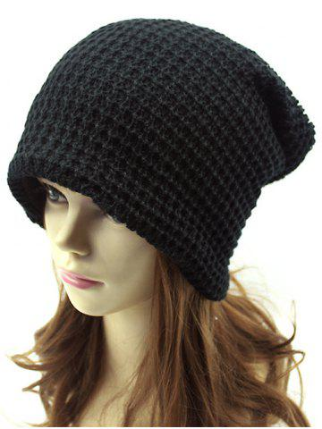 Cheap Casual Openwork Weaving Double-Deck Knit Beanie