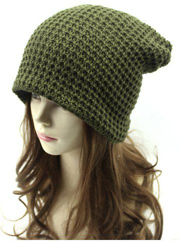 Unique Casual Openwork Weaving Double-Deck Knit Beanie ARMY GREEN