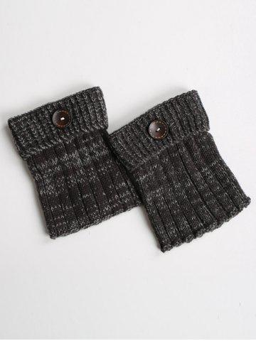 Warm Buttons Yoga Knit Boot Cuffs - Black Grey