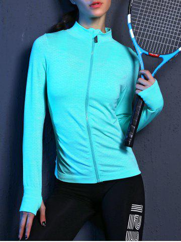 Outfits Zip Up Slimming Sporty Running Jacket LAKE BLUE L