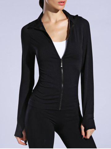 Outfit Zip Up Slimming Sporty Running Jacket - L BLACK Mobile