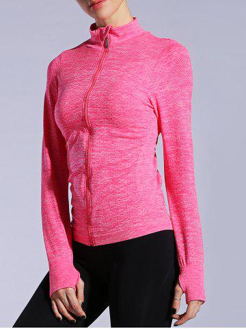 Discount Zip Up Slimming Sporty Running Jacket - L WATERMELON RED Mobile