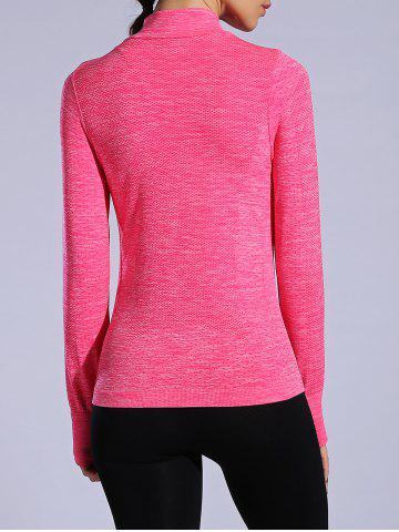 Fashion Zip Up Slimming Sporty Running Jacket - WATERMELON RED M Mobile