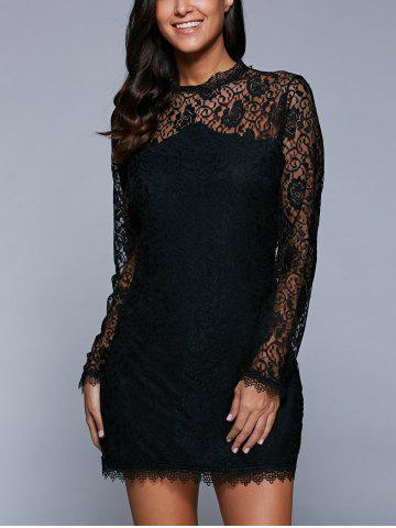 Latest Long Sleeve See-Through Lace Bodycon Dress BLACK XL