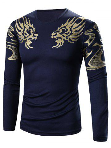 Golden Totem Pattern Long Sleeve T-Shirt - Deep Blue - L