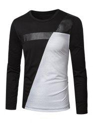 Crew Neck PU-Leather Splicing Color Block T-Shirt