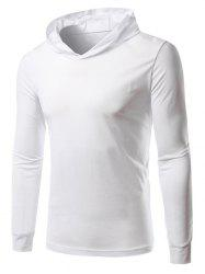 Hooded Long Sleeve Pullover Hoodie - WHITE 2XL